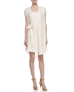 Halston Heritage Self-Tie Waist Dress with Scarf, Cream