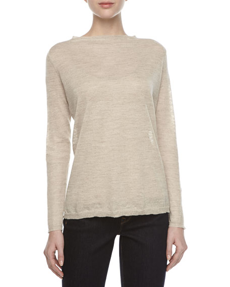Long-Sleeve Bateau Sweater, Natural