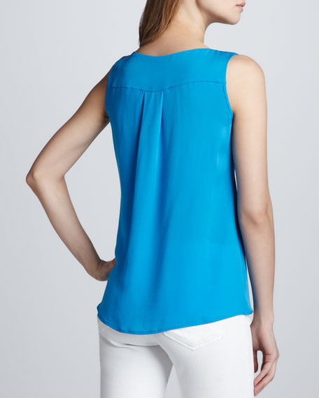 Sleeveless Top with Colorblock Front Slit