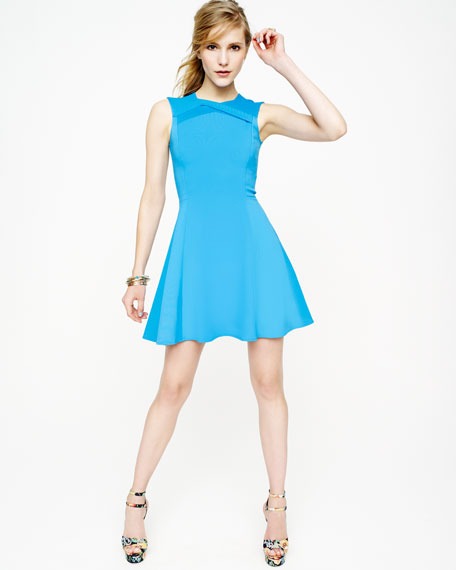 Ponte Knit Crisscross-Neck Dress
