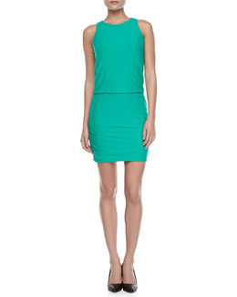 Halston Heritage Jersey Gathered-Skirt Dress