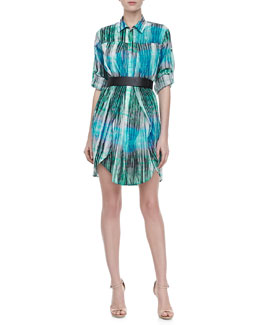 Halston Heritage Linen Long-Sleeve Shirtdress, Lagoon Watercolor