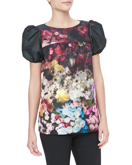 Short-Sleeve Hazy Garden-Print Top