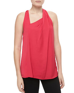 Halston Heritage Asymmetric Draped Top, Raspberry