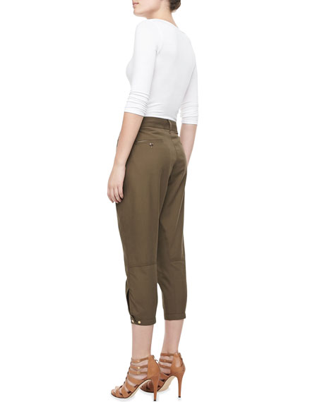 Lightweight Cotton Twill Cropped Pants