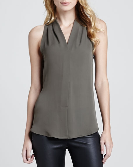 Hylin Draped Sleeveless Blouse
