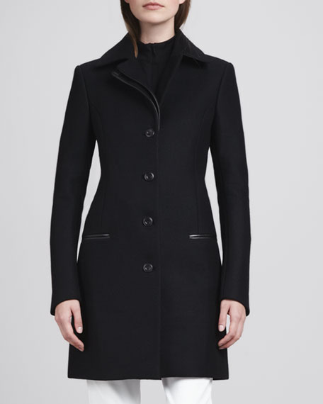 Gazella Leather-Trim Wool Coat