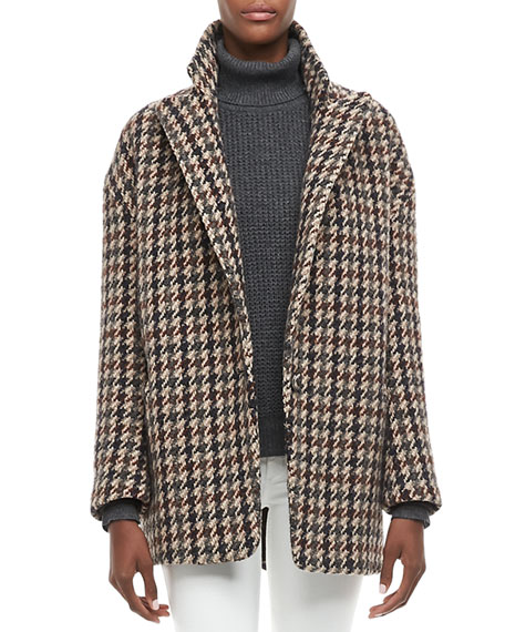 Danvey Houndstooth Long Blazer