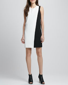 Theory Randla Two-Tone Crepe Dress