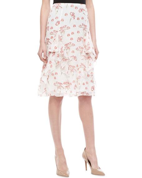 Mushroom-Print Chiffon Skirt