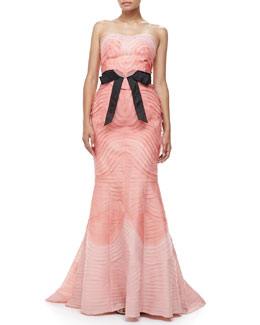 Carolina Herrera Layered Strapless Bow-Waist Gown