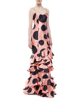 Carolina Herrera Ruffled Polk Dot Silk Gown