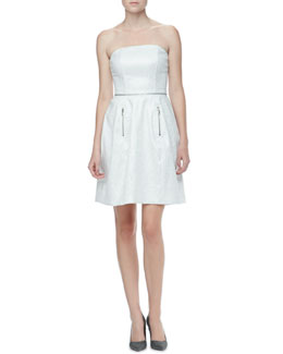 Yoana Baraschi Strapless Brocade Dress with Zippers