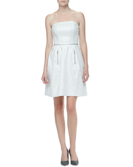 Strapless Brocade Dress with Zippers