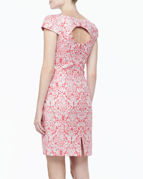 Short-Sleeve Scoop-Neck Brocade Dress