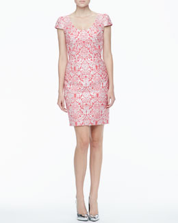 Yoana Baraschi Short-Sleeve Scoop-Neck Brocade Dress