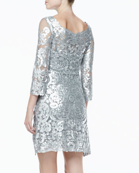 Long Sleeve Patterned Sequin Dress