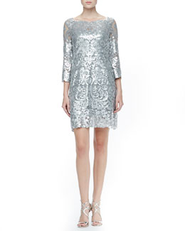 Yoana Baraschi Long Sleeve Patterned Sequin Dress