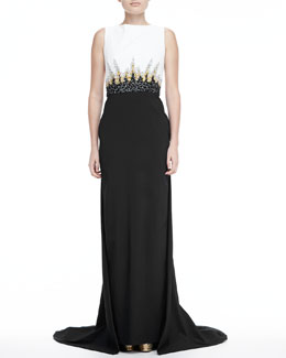 Pamella Roland Sleeveless Beaded Bodice Gown