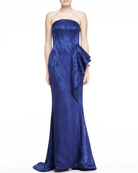 Strapless Mermaid Jacquard Gown