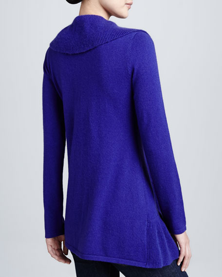 Cashmere Open-Front Ruffled Cardigan