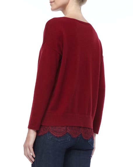 Cashmere Lace-Trim Sweater, Classic Wine