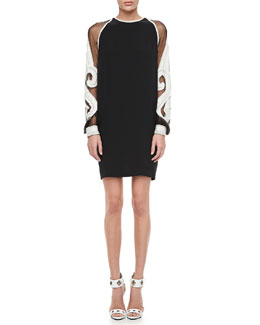 Naeem Khan Embroidered-Sleeve Shift Cocktail Dress