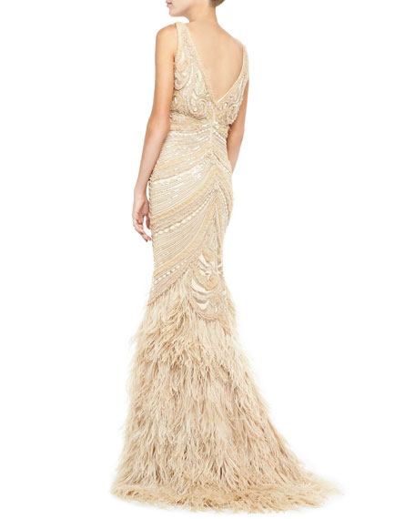 Sleeveless Embroidered Feather Skirt Gown