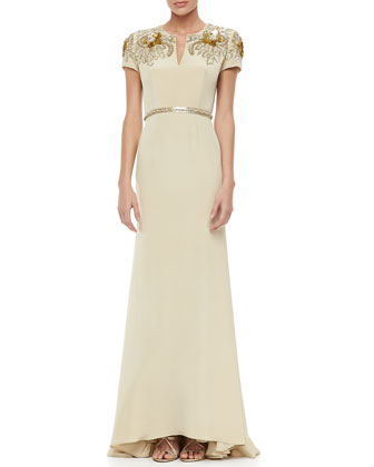 Embroidered-Sleeve Keyhole-Neck Gown