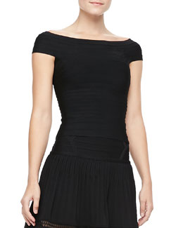 Herve Leger Off-The-Shoulder Bandage Top