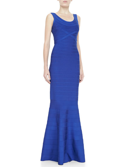 Scoop-Neck Bandage Gown, Cobalt