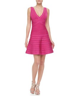 Herve Leger Scalloped A-Line Bandage Dress