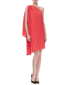 Halston Heritage One-Shoulder Pleated Dress