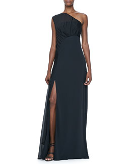 Halston Heritage One-Shoulder Gown with Sheer Overlay
