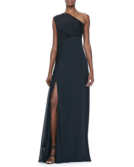 One-Shoulder Gown with Sheer Overlay
