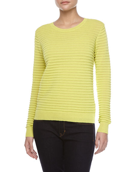 Ottoman Stripe Long-Sleeve Sweater, Lemonade