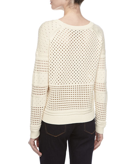 Long-Sleeve Eyelet Sweater, Cream