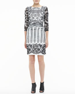 Kay Unger New York Boat-Neck Lace Dress
