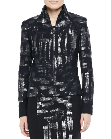 Metallic Detail Long-Sleeve Jacket