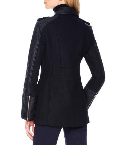 Faux-Leather-Sleeve Wool Coat