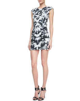 McQ Alexander McQueen Fitted Cap-Sleeve Bird Dress