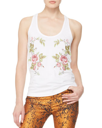 Rose-Embroidered Racerback Tank