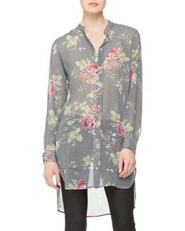 McQ Alexander McQueen Rose-Print Paneled Tunic Dress