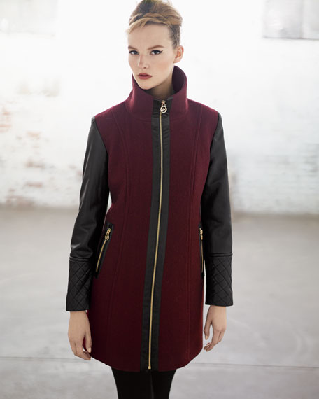 Faux-Leather-Sleeve Felt Coat