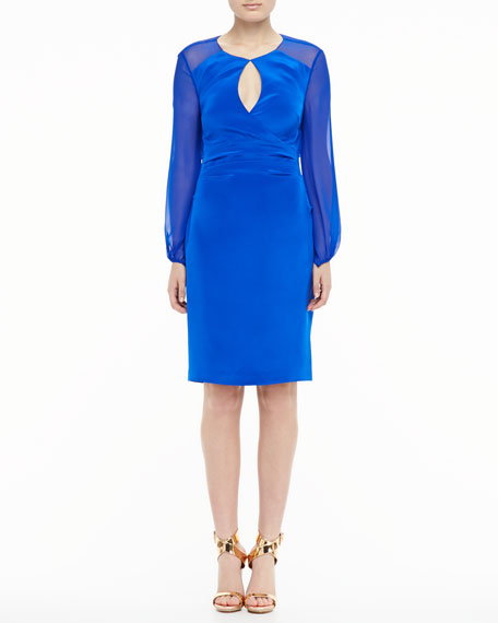 Long-Sleeve Keyhole Cocktail Dress