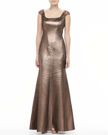 Metallic Scoop-Neck Flare Gown