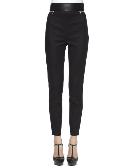 Leather-Waist Stretch Cotton Pants