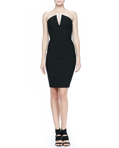 Strapless Fitted Suiting Dress