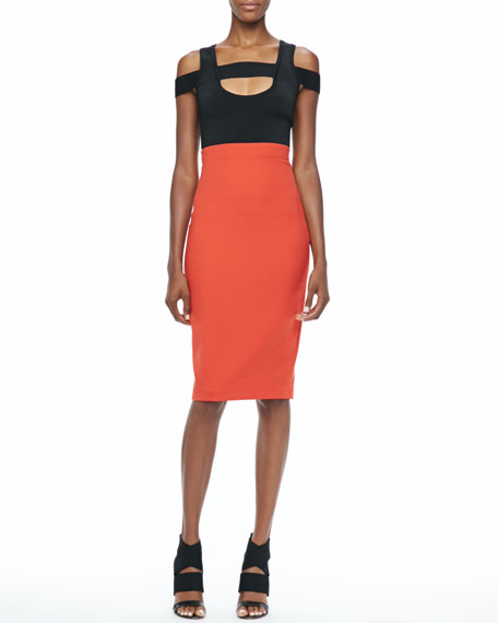 High-Waist Techno Suiting Pencil Skirt