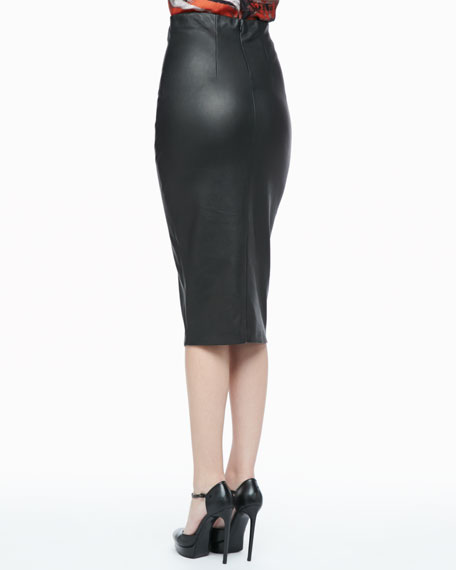 High-Waist Leather Pencil Skirt